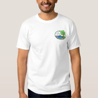 Beach with Seagulls Scene Embroidered T-Shirt