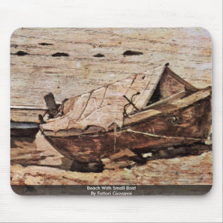 Beach With Small Boat By Fattori Giovanni Mouse Pad