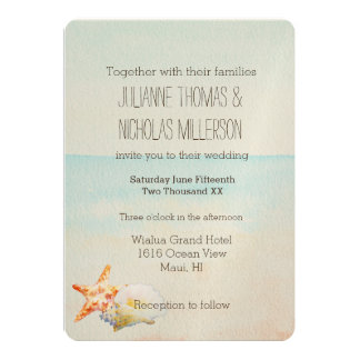 Beach with Starfish and Conch Shell Wedding Card