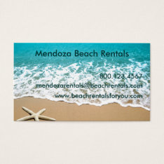 Beach With Starfish on Sand Business Card at Zazzle
