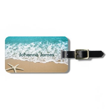 marlenedesigner Beach With Starfish on Sand Luggage Tag