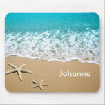 "Beach With Starfish on Sand Mouse Pad<br><div class=""desc"">This summer design features a beautiful picture of a beach shore with sand and starfish. This photo is perfect for someone that enjoys the beach,  the summer season,  vacation and holiday. Fresh,  bright and colorful will put you in a good mood.</div>"