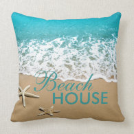 Beach With Starfish on Sand Throw Pillow