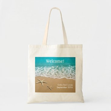 marlenedesigner Beach With Starfish on Sand Tote Bag