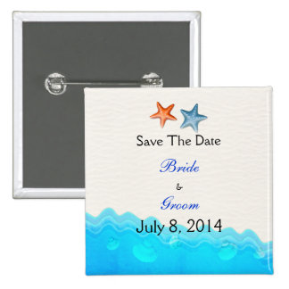 Beach With Starfish Save The Date Pinback Buttons