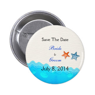 Beach With Starfish Save The Date Pin
