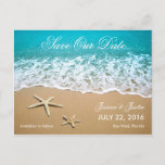 """Beach With Starfish Save the Date Card<br><div class=""""desc"""">This modern card is ideal to announce a Beach or Destination Wedding. It features a beautiful picture of a beach shore with sand and two starfish. This card is ideal for an ocean front wedding. Add your own event details.</div>"""