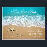 "Beach With Starfish Save the Date Card<br><div class=""desc"">This modern card is ideal to announce a Beach or Destination Wedding. It features a beautiful picture of a beach shore with sand and two starfish. This card is ideal for an ocean front wedding. Add your own event details.</div>"