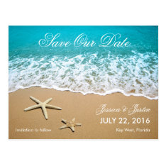 Beach With Starfish Save The Date Card at Zazzle