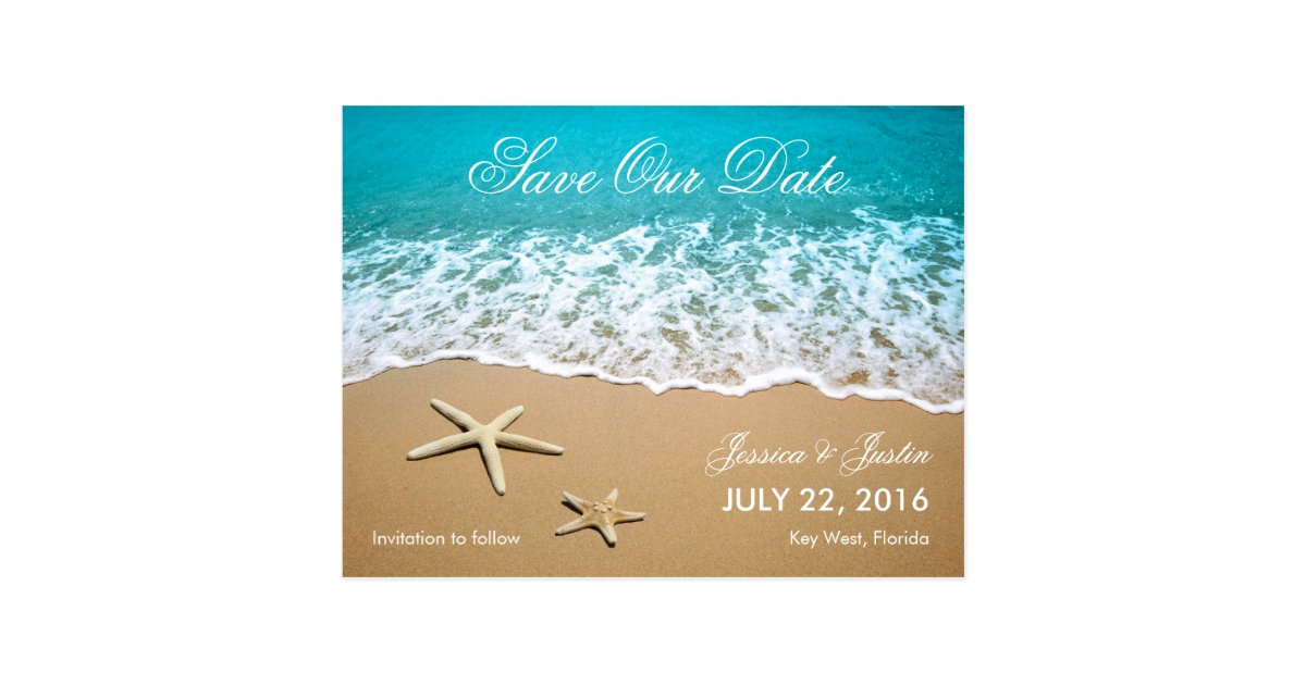 Beach With Starfish Save The Date Card Zazzle Com
