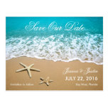 Beach With Starfish Save the Date Card Post Cards