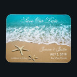 "Beach With Starfish Save the Date Magnet<br><div class=""desc"">This modern magnet is ideal to announce a Beach or Destination Wedding. It features a beautiful picture of a beach shore with sand and two starfish. This magnet is ideal for an ocean front wedding. Add your own event details.</div>"