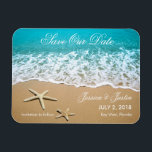 """Beach With Starfish Save the Date Magnet<br><div class=""""desc"""">This modern magnet is ideal to announce a Beach or Destination Wedding. It features a beautiful picture of a beach shore with sand and two starfish. This magnet is ideal for an ocean front wedding. Add your own event details.</div>"""
