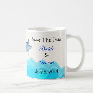 Beach With Starfish Save The Date Coffee Mugs
