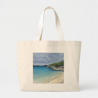Beach with Storm Clouds Jumbo Tote Bag