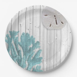 Beach Wood Sand Dollar Teal Coral Paper Plates