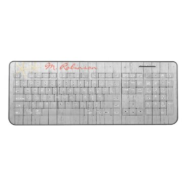 Beach Themed Beach Wood Starfish Personalized Wireless Keyboard