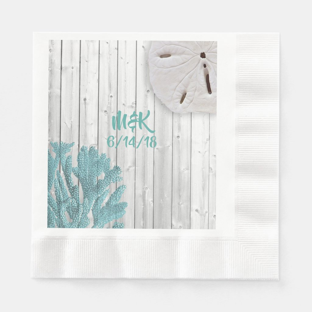 Beach Wood Teal Coral Paper Napkins