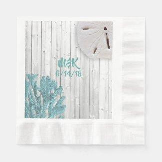 Beach Wood Teal Coral Paper Napkins