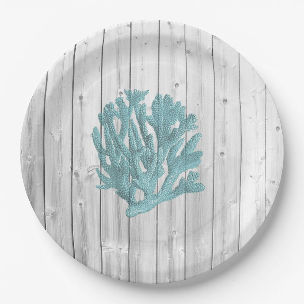 Beach Wood Teal Coral Paper Plates