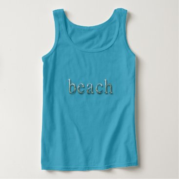 Beach Themed Beach Word Blue Silver Gray Text Typography Tank Top