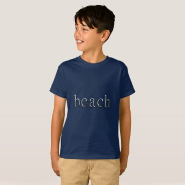 Beach Themed Beach Word Navy Blue Silver Text Typography T-Shirt
