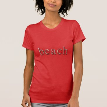 Beach Themed Beach Word Red Silver Text Typography T-Shirt