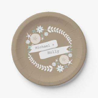 Beach Wreath Names Wedding Paper Plate
