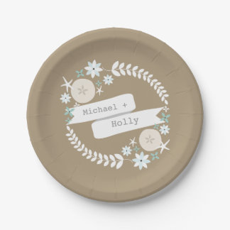 Beach Wreath Names Wedding 7 Inch Paper Plate
