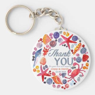 Beach Wreath Personalized Key Ring Wedding Favor Keychain