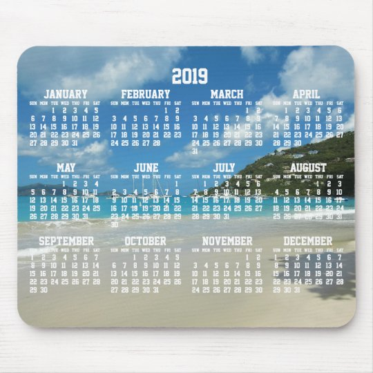 2019 Beach Calendar Beach Yearly Calendar 2019 Mouse Pads | Zazzle.com