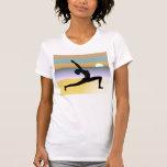 Beach Yoga Pose Silhouette Womens Tee Tee Shirt