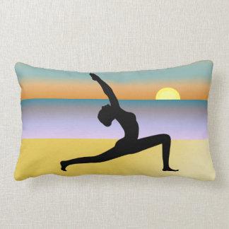 Beach Yoga Silhouette MoJo Lumbar Throw Pillow