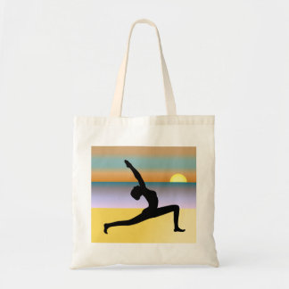 Beach Yoga Woman Posing Silhouette Budget Tote Bag