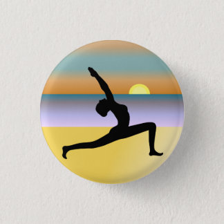 Beach Yoga Woman Posing Silhouette Round Badge Button