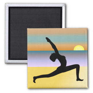 Beach Yoga Woman Posing Silhouette Square Magnets