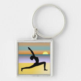 Beach Yoga Woman Silhouette Premium Square Keyring Keychain