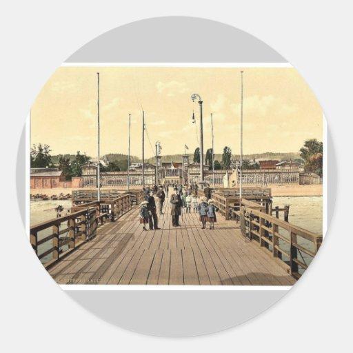 Beach, Zoppot, West Prussia, Germany (i.e., Sopot, Classic Round Sticker