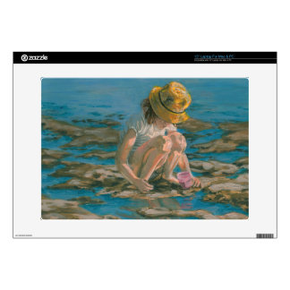 Beachcomber, Girl Collecting Shells Decal For Laptop