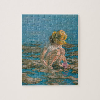 Beachcomber, Girl Collecting Shells Jigsaw Puzzle