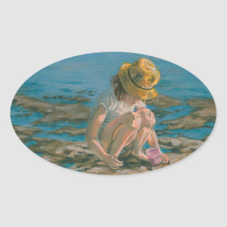 Beachcomber, Girl Collecting Shells Oval Sticker
