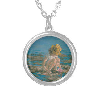 Beachcomber, Girl Collecting Shells Round Pendant Necklace