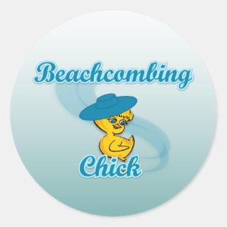 Beachcombing Chick #3 Round Stickers