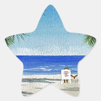 BeachCouple Z.jpg Pegatina En Forma De Estrella