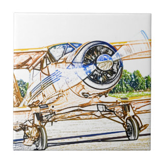 Beachcraft Staggerwing Vintage aircraft Ceramic Tile