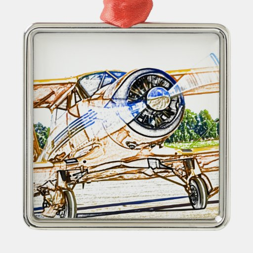 Beachcraft Staggerwing Vintage aircraft Metal Ornament