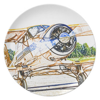 Beachcraft Staggerwing Vintage aircraft Party Plate