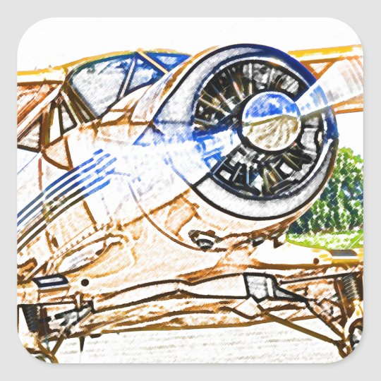 Beachcraft Staggerwing Vintage aircraft Square Sticker