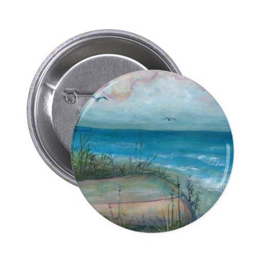 Beache Scene Indian Rocks Beach, FL Art 2 Inch Round Button