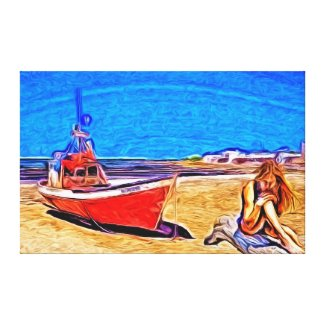 Beached Boat and Girl Canvas Prints